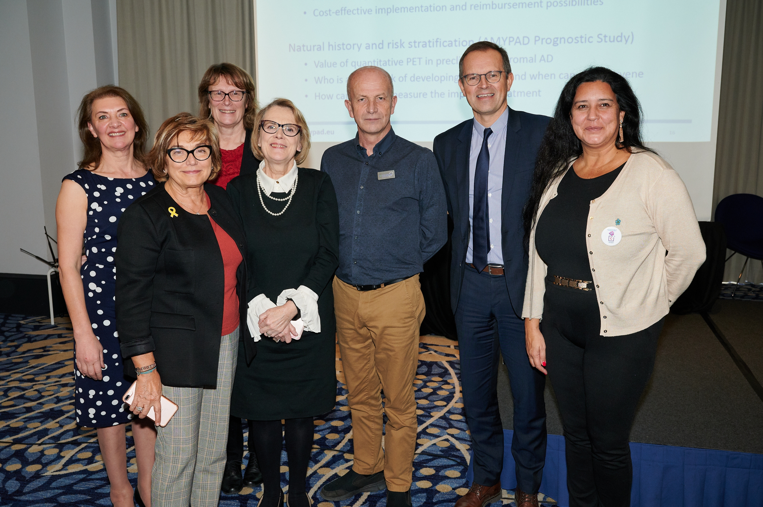 Presentations at Alzheimer Europe Lunch Debate, People pictured from left to right, Jayne Goodrick, Mercè Boada (presenter), Gill Farrar (presenter), Helen Rochford-Brennan, Chris Roberts, Pierre Krolak-Salmon (presenter), Nélida Aguiar