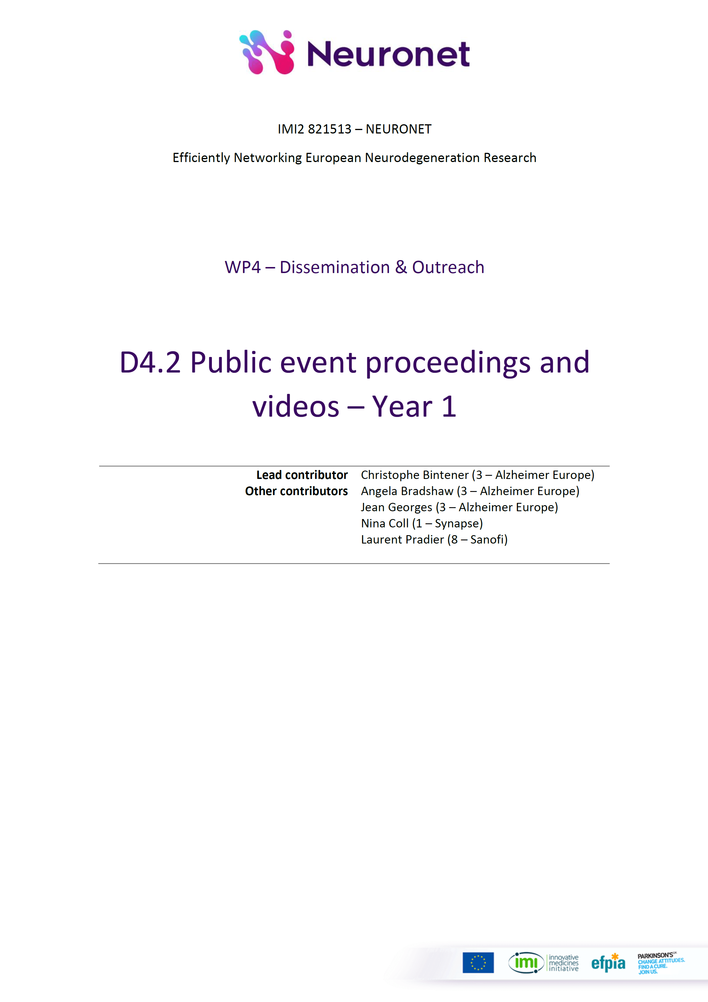 D4.2 Public event proceedings and videos - Year 1