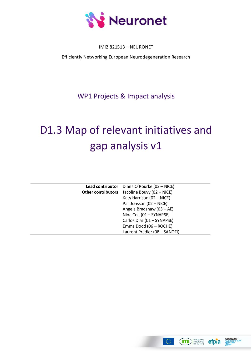 D1.3 Map of relevant initiatives and gap analysis v1