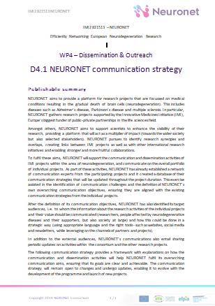 D4.1 NEURONET communication strategy