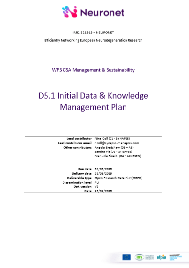 D5.1 Initial Data & Knowledge Management Plan