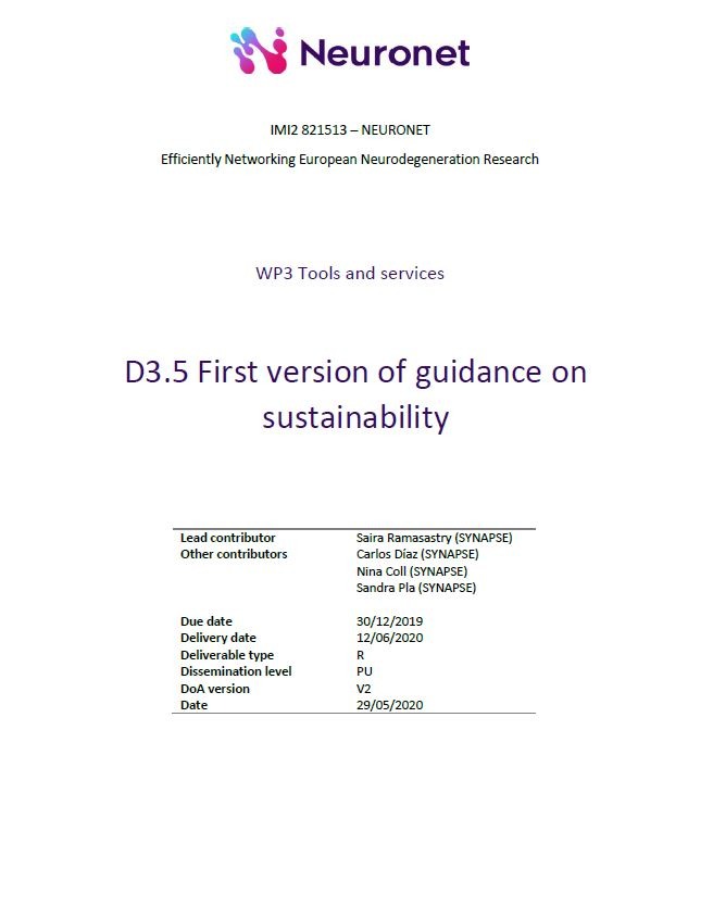 D3.5 First version of guidance on sustainability