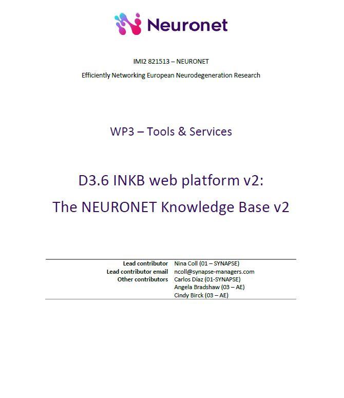 D3.6 INKB web platform v2: The NEURONET Knowledge Base v2