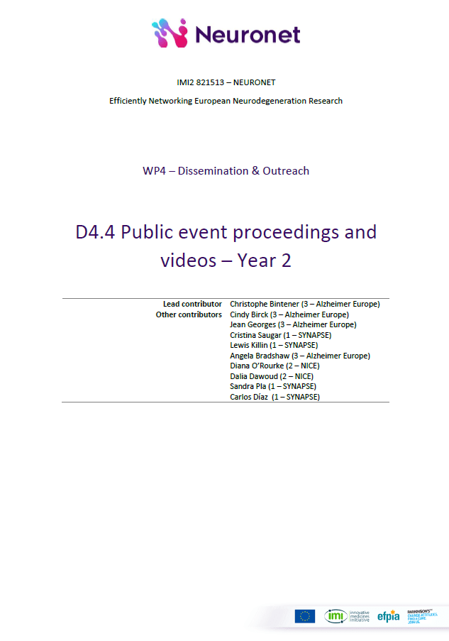 D4.4 Public event proceedings and videos - Year 2