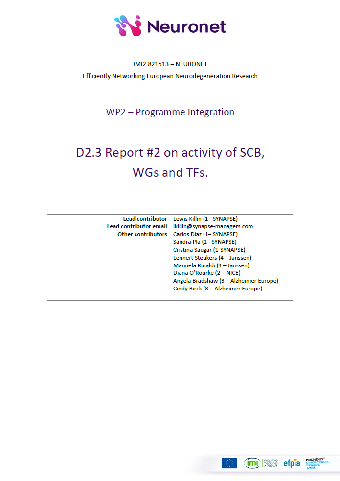 D2.3 Report #2 on activity of SCB, WGs and TFs